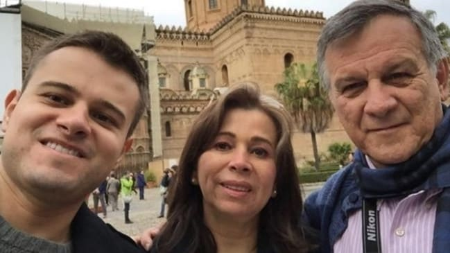 Graduated from university last week ... Javier Camelo with his mother, Miriam Martinez Camelo and father, José Arturo Camelo, in Palermo, Italy. Picture: Facebook