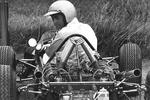Sir Jack Brabham prepares for a practice run for the Sandown International Cup in the his Repco-Brabham in 1966.