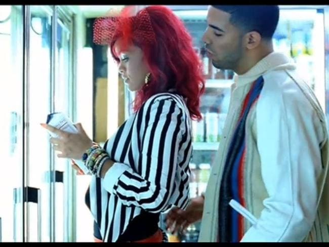 "Old flame ... Rihanna and Drake in a screengrab from their ""What's My Name"" music clip."