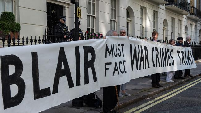 Protesters outside the London home of former British Prime Minister Tony Blair this week. Picture: Getty