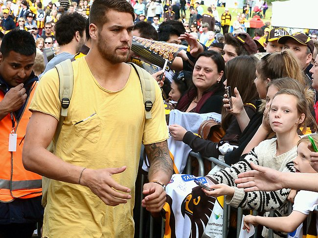Lance Franklin leaves for the bus. Picture: Wayne Ludbey