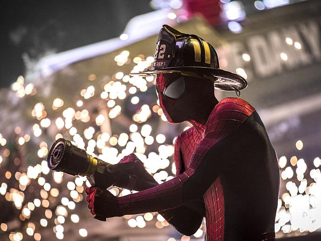 He's back ... Andrew Garfield as Spider-Man in a scene from film The Amazing Spider-Man 2: Rise of Electro