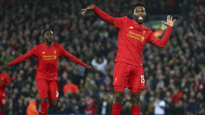 Liverpool's Daniel Sturridge celebrates scoring the second goal of the game during the English League Cup soccer match between Liverpool and Tottenham Hotspur at Anfield in Liverpool, England, Tuesday, Oct. 25, 2016. (AP Photo/Dave Thompson)