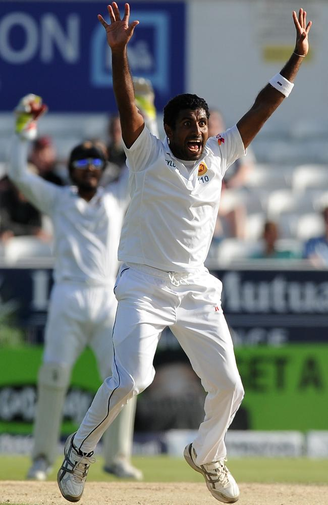 Sri Lanka's Dhammika Prasad appeals for a wicket during day four of the second Test against England.