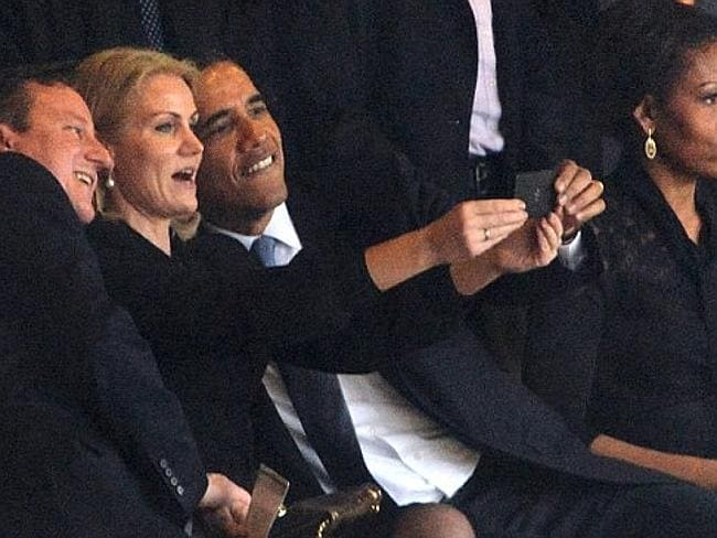 This selfie with Danish Prime Minister Helle Thorning and British PM David Cameron at Nelson Mandela's funeral got him in trouble too.