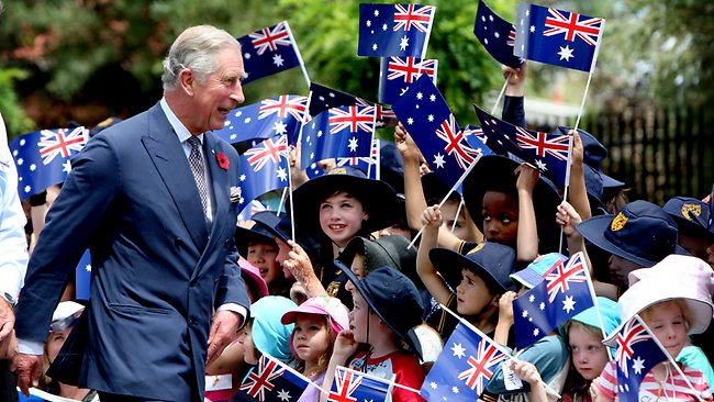 Prince Charles received a colourful reception from pupils at Kilkenny Primary School in Adelaide yesterday. Picture: Calum Robertson