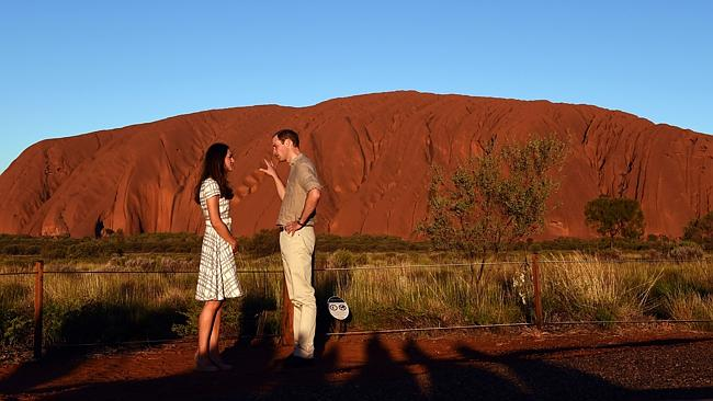 The royals take in Uluru in a photo opportunity captured by the world's media. Picture: Getty