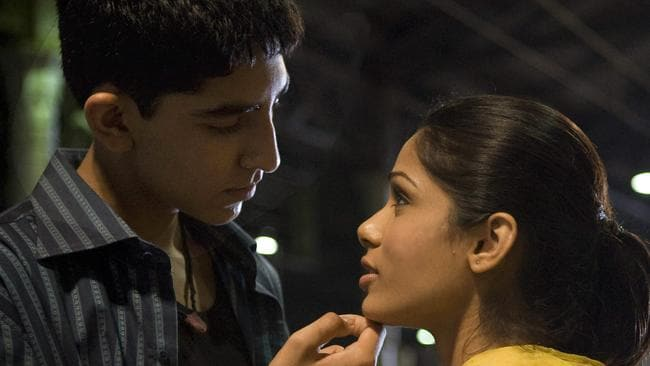 Dev Patel and Freida Pinto in a scene from the 2008 film Slumdog Millionaire.