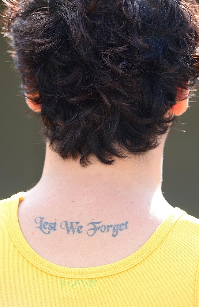 This tattoo is one of many that honour Pvt Haven's fallen mates.