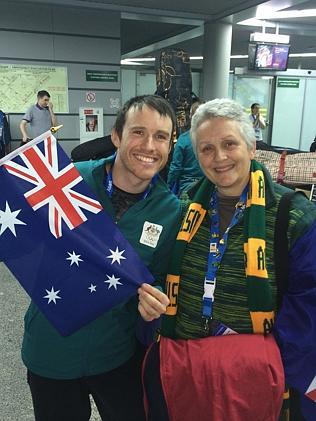 Australian aerial skier David Morris at Sochi International airport with his mother Margaret.