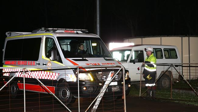 Emergency services continue to arrive at the mine site following last night's collapse. Picture: Bill Hearne