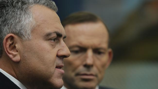 Treasurer, Joe Hockey (left) with Prime Minister Tony Abbott speaks to media at Hobart Airport