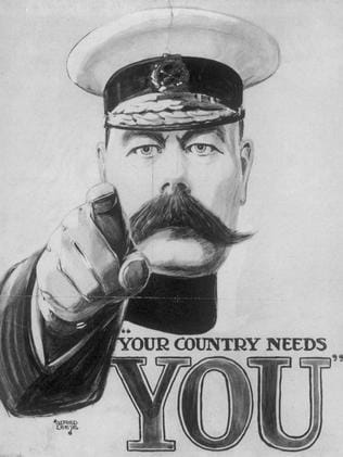 Call to arms ... famous British recruiting poster from WW1. Australia pledged support to Britain but never introduced conscription.