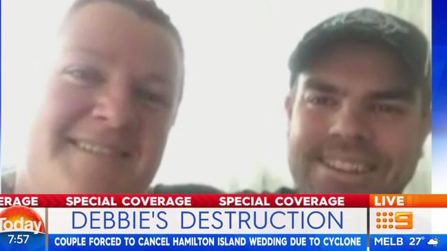 Amy Murphy and Damian Hall were forced to cancel their Hamilton Island wedding due to cyclone. Picture: Today/Channel 9