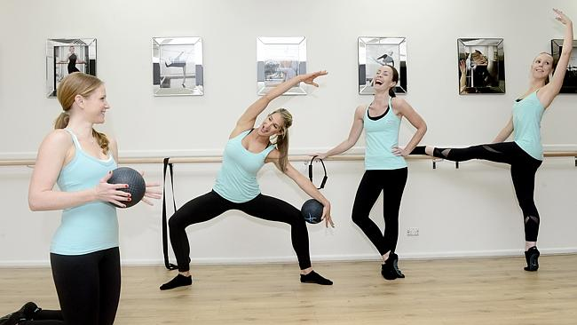 Friends Heidi Doran, Yvette Lakin, Klair Jarratt and Sara Czarnota practising Xtend Barre studio in Drummoyne.
