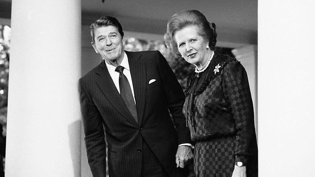 In this June 23, 1982 file photo, President Ronald Reagan and British Prime Minister Margaret Thatcher speak to reporters at the White House in Washington. Picture: AP
