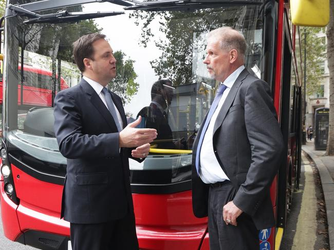 Trade Minister Steven Ciobo with the CEO of Tower Transit, Neil Smith. Picture: Ella Pellegrini