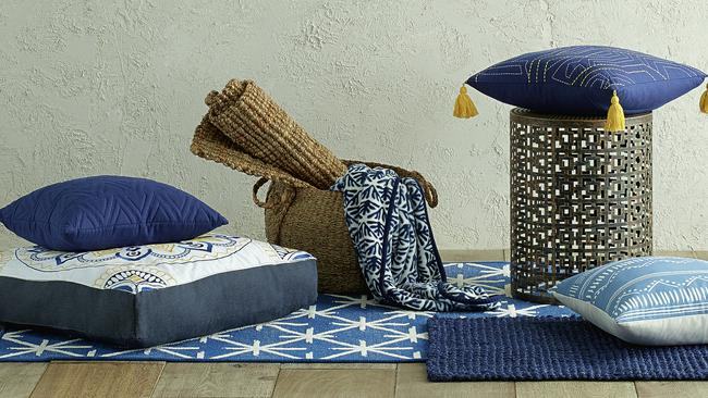 "Assorted pieces from the 'Global Mix' collection, which is described as ""a clash of cultures united in blue""."