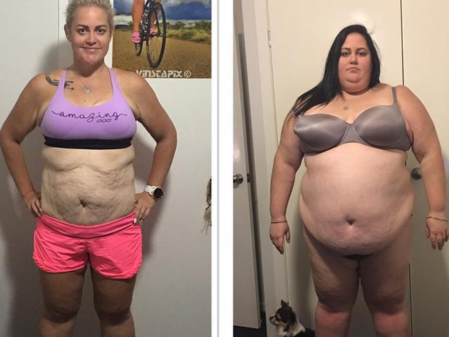 Before and after of Cairns Ironman competitor Elena Goodall from Mount Isa, who weighed 184kg in 2015 (right).