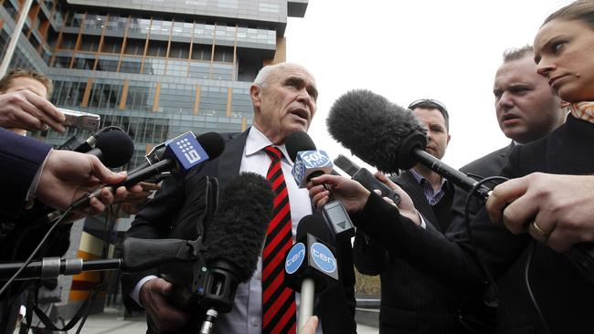 Essendon chairman Paul Little outside the Federal Court. Picture: Richard Serong