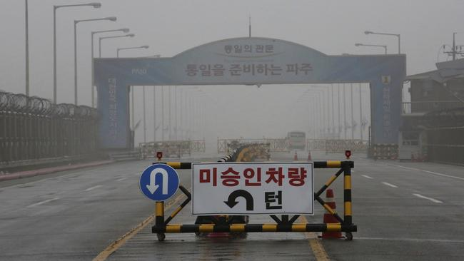A barricade is placed near Unification Bridge, which leads to the demilitarised zone, near the border village of Panmunjom in Paju, South Korea. Picture: AP