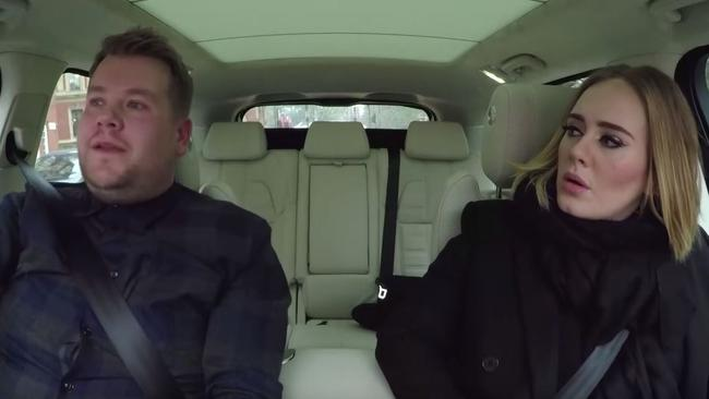 Wig concerns ... Corden and Adele discuss her plans to wear a wig on tour. Picture: YouTube