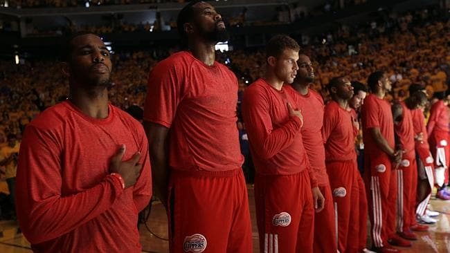 Members of the Los Angeles Clippers wore their red Clippers' shirts inside out ahead of their playoff game against the Golden State Warriors to hide the team's logo.