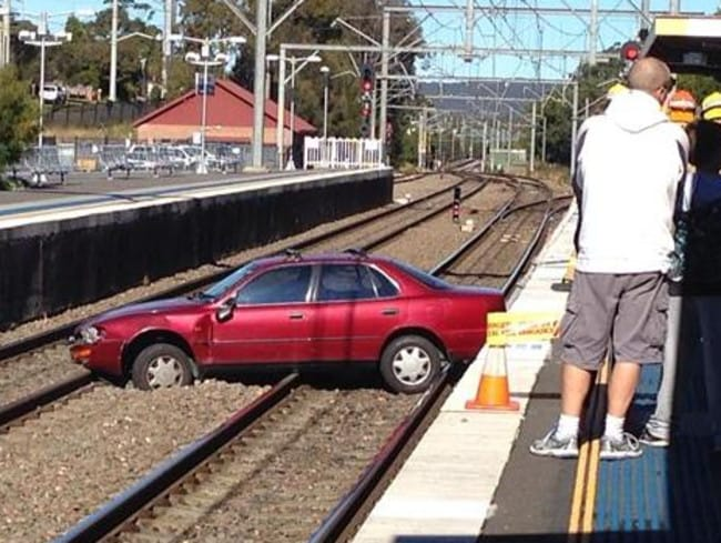 A car on the tracks at Wyong railway station. Picture: Facebook