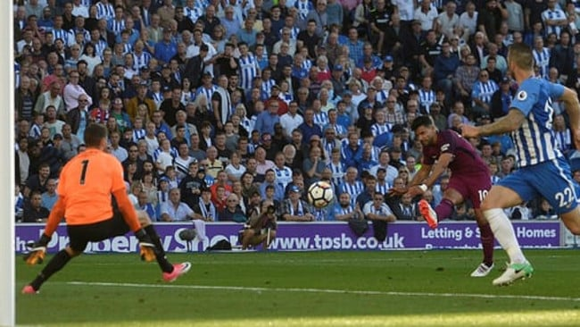 Brighton goalkeeper Mat Ryan can't prevent Sergio Aguero from scoring.