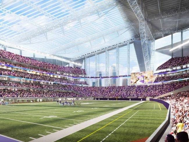 An artist's rendering, which shows the new Minnesota Vikings stadium.