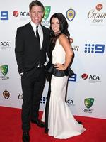 Xavier Doherty and Emma Doherty on the red carpet arriving at the 2014 Allan Border Medal held at Doltone House at Hyde Park.