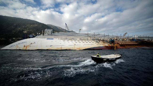 A view of the platform in front of the Costa Concordia cruise ship laying aground by the port the Italian island of Giglio on January 12, 2013. Picture: AFP PHOTO / FILIPPO MONTEFORTE