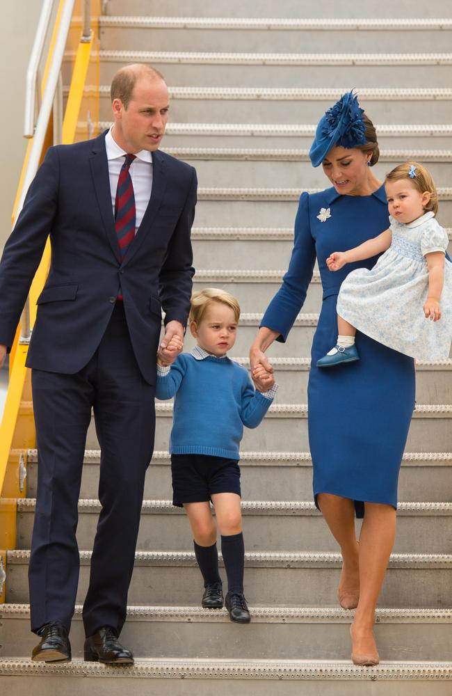 The blue-on-blue theme started last September when the royals visited Canada. Picture: Supplied