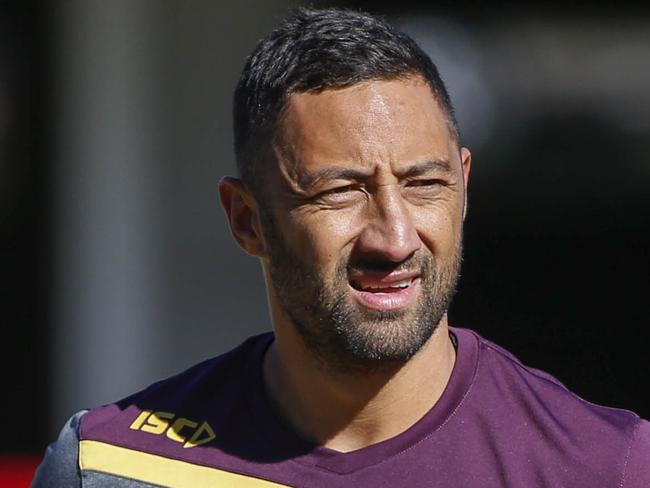 Benji Marshall of the Brisbane Broncos in action during training in Brisbane, Monday, July 24, 2017. (AAP Image/Glenn Hunt) NO ARCHIVING