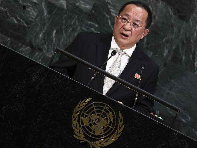 North Korea's Foreign Minister Ri Yong Ho wasn't thrilled with Mr Trump's description of his leader Jim Jong-un. Picture: Jewel Samad/AFP