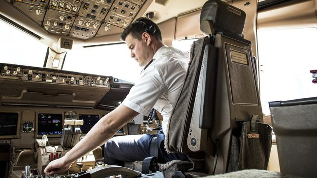 Emirates pilot First Officer Mark Le Mesurier found airline work at just 23. Picture: Supplied.