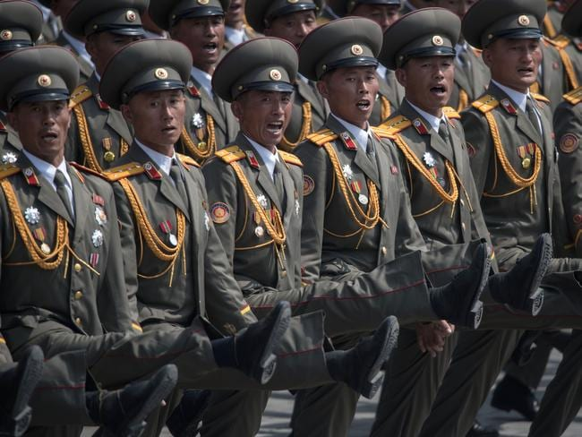 Korean People's Army (KPA) soldiers march during a military parade marking the 105th anniversary of the birth of late North Korean leader Kim Il-Sung in Pyongyang. Picture: AFP