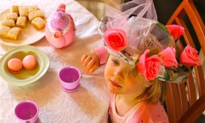 Make newspaper tea party hats