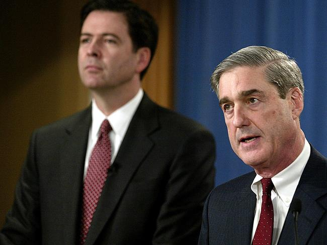 Then Deputy Attorney-General James Comey (L) and then FBI Director Robert Mueller. Picture: AFP