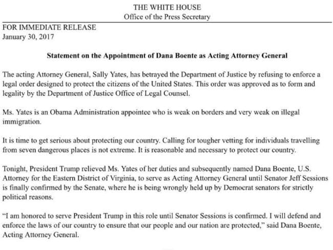 The full statement from the White House.