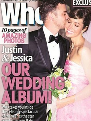 Jessica Biel in her pink gown on the cover of Who magazine.
