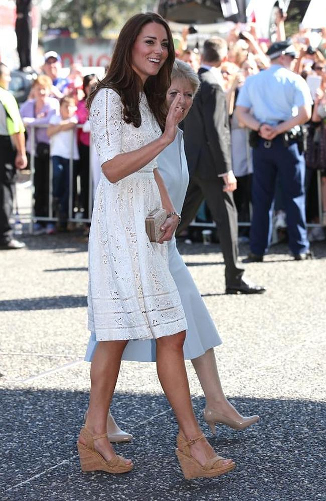 Kate Middleton arrives at the Sydney Easter Show wearing a dress by Aussie label Zimmermann.