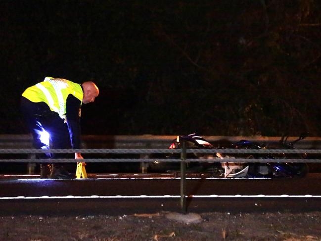 A motorcyclist has died after crashing his bike into a Kangaroo on the M4 Motorway at Claremont Meadows, near Penrith. Picture: Bill Hearne