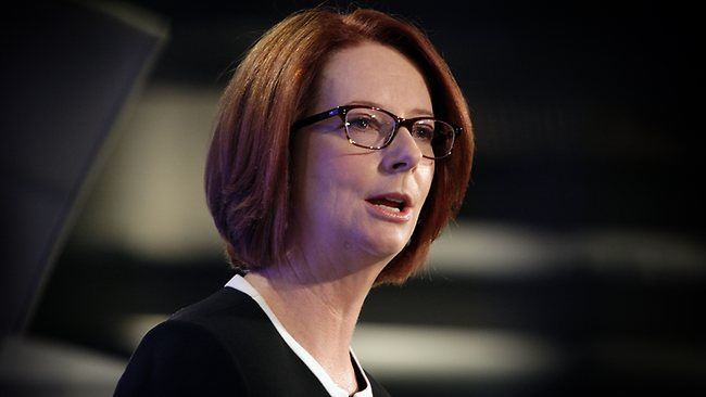 STARTERS' GUN FIRED: Prime Minister Julia Gillard addresses the National Press Club in Canberra yesterday. Picture: Ray Strange
