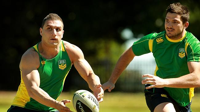 Robbie Farah with Matt Gillett on the right, during the Prime Minister's XIII training.