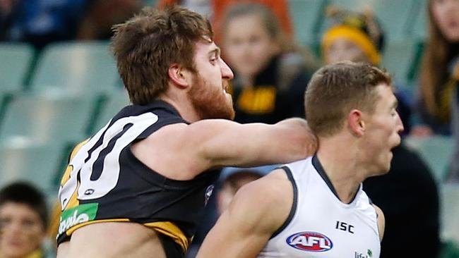 Richmond's Reece Conca is facing scrutiny for this hit on GWS' Devon Smith. Picture: Michael Willson/AFL Media