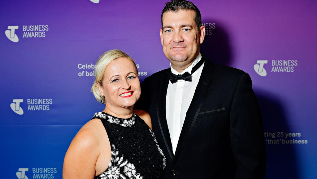 2017 Telstra Northern Territory Business of the Year, and 2017 Telstra Northern Territory Medium Business Award winners - Kerrylee Pike, and Luke Myall from HiQA Geotechnical at the Telstra Business Awards at the Darwin Convention Centre. Picture: MICHAEL FRANCHI