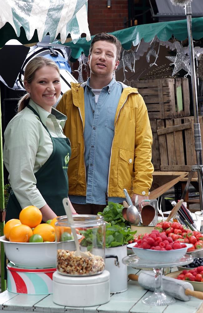 Fruit and nut ... Jamie Oliver films his first Woolworths commercial in London. Picture: Ella Pellegrini