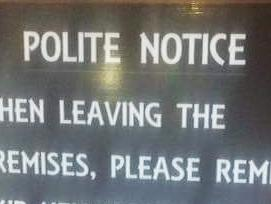 Pub's note shuts down whining neighbours
