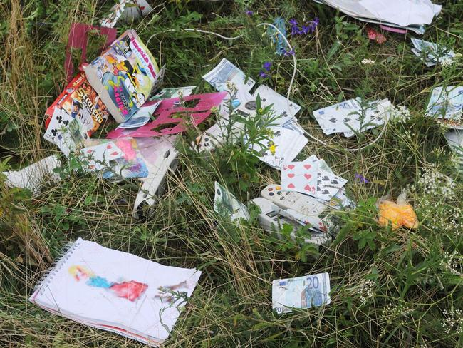 Belongings of passengers on the site of the crash.